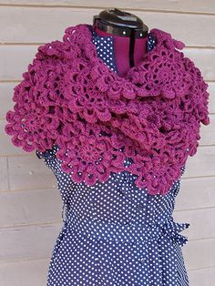 """This convertible motif shawl can be worn in many ways. Wrap it around your shoulders for a short capelet, wrap it around your neck for a cowl, or drape it over your shoulders for a flowing shawl. Any way you decide to wear it, the bobbly texture is sure to keep you cozy. Size: 13 1/2"""" x 63"""". Made with light (DK) weight yarn and size H/8/5mm hook. Skill Level: Intermediate"""