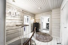 "Scandinavian log cabin with the interior log walls pained white= Beautiful and airy! NO drywall mixed with log walls like the ""student homes"" examples. Use ship lap. Needs texture to not be piecy House, Home, Cottage Inspiration, Cabin Decor, Log Wall, House Interior, White Cabin, Log Home Interior, Rustic House"