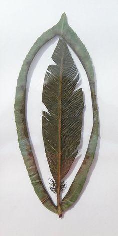 cut leaf, lorenzo duran, leav art, leaf cut, feather leaf, leaf art, feathers, leaves, cut outs