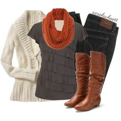 """""""Cozy for Fall - Gray tee, bold scarf, cream cardigan, dark jeans, brown boots"""