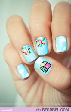 "Super cute ""UP"" nails! #disney"