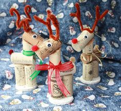 3 Wine Cork Reindeer Christmas Ornaments by WaterfallMountainArt