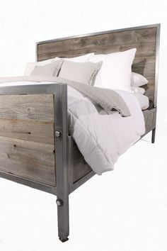 Reclaimed Barn Wood Industrial Bed by foundpurpose on Etsy