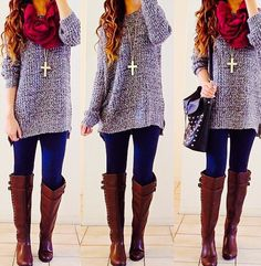 Oversized sweater, boots and scarf.