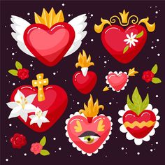 Tin Art, Heart Crafts, Mexican Art, Metal Crafts, Sacred Heart, Heart Art, Fabric Painting, Doodles, Drawings