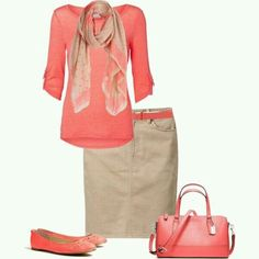 A fashion look from June 2013 featuring Vero Moda tops, Tommy Hilfiger skirts and Sam Edelman flats. Browse and shop related looks. Coral Shirt Outfits, Coral Top Outfit, Mode Outfits, Casual Outfits, Looks Plus Size, Work Attire, Modest Fashion, Spring Outfits, What To Wear