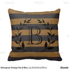 Monogram Vintage Tan & Blue Stripes Pillows