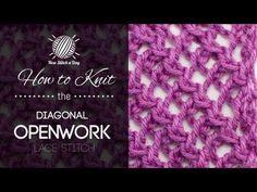 The Diagonal Openwork Lace Stitch :: Knitting Stitch #189 :: New Stitch A Day