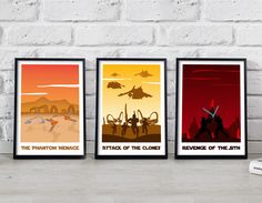 Star Wars poster art print wall art decor Gift poster Office Wall Decor, Wall Art Decor, Wall Art Prints, The Phantom Menace, Star Wars Poster, Poster Wall, Saga, Frame, Illustration