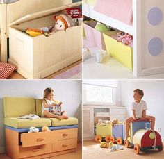 Take full advantage of the room with furniture that have several uses. Look at this couch. Beneath the padded seat has four practical drawers ideal for storing toys and small toys that crowd who always hover around the room creating a sense of disorder. Furthermore, useful for storing clothes or blankets for another season.  The fight for the room is always tidy will be less hard if you put Jugueteros with attractive shapes to help you consider the order as a part of the game. This train…