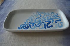 Hand-Painted Tray / Blue Watercolor Line Maze Pattern / Jewelry or Trinket Tray / Decorative Organizer by 7thStreetHaven on Etsy