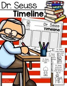 Timeline of Events for Dr. Seuss. Simple for Kindergarten and FIrst Grade. $