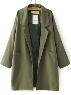 Army Green Lapel Pockets Loose Trench Coat