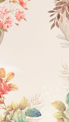 Download free image of Flower phone wallpaper background, aesthetic design, remixed from vintage public domain artwork  by Adjima about floral background peach, instagram story, iphone wallpaper, leaf, and peach background 3828884