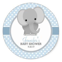 Baby Elephant (blue) Baby Shower Classic Round Sticker Express yourself! Baby Shower Brunch, Baby Shower Cakes, Baby Shower Azul, Baby Shower Yellow, Baby Shower Party Favors, Baby Shower Balloons, Baby Shower Centerpieces, Baby Shower Parties, Baby Boy Shower