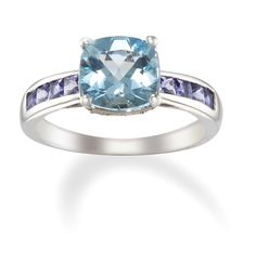 14k White Gold Aquamarine and Lolite Ring with Diamonds