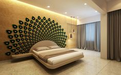 5 Creative Ideas for Indian Homes (From Sunita Vellapally). Headboard with mirrors as the feathers