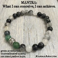 MANTRA: What I can conceive - I can achieve. - 8mm Tourmalinated Quartz Natural Gemstones - 8mm Faceted Green Aventurine Natural Gemstones - Tibetan Silver Om Mani Padme Hum Prayer Wheel - Commercial