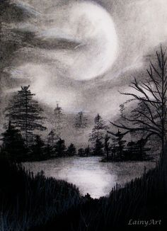 Day 63 by secrets-of-the-pen on deviantart charcoal art in 2 Pencil Sketches Landscape, Landscape Drawings, Pencil Art Drawings, Art Drawings Sketches, Drawing Faces, Drawing Landscapes Pencil, Contour Drawings, Hipster Drawings, Art Illustrations