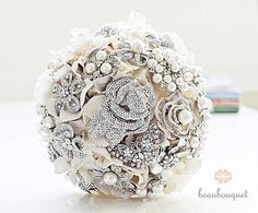 A wedding bouquet made out of antique brooches done by BeauBouquet on Etsy - for Rachel's big day in 15 years