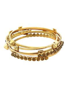 Jewellery & Accessories | Bracelets | Gold Stone And Stud Bangle Set | Hudson's Bay