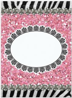 zebra with pink glitter - diamond accent rows top & bottom & accent frame in middle - uploaded by Lynn White