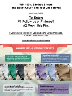 Enter to Win:  1 fitted sheet, 2 pillow cases and 1 duvet cover in king or queen in Honey Suckle Color! Retail value $349.99 To enter: #1 Follow us on Pinterest https://www.pinterest.com/sleepbamboo/  #2 Then repin this Pin!  Good Luck! Winner be contacted 48 hours after contest closes. Contest ends May 28th