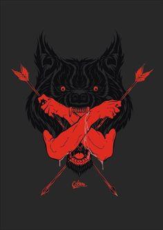 Wolf by Studio Carbon Silkscreen, Desenho Tattoo, Grafik Design, Dark Art, Art Reference, Fantasy Art, Cool Art, Concept Art, Graphic Art