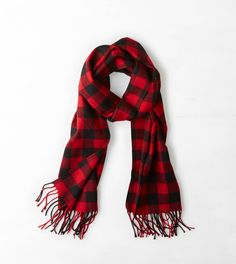 Red AEO Buffalo Check Scarf- American Eagle Outfitters