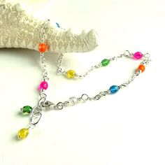 Multi Color Anklet Sterling Silver Beaded by ReneeBrownsDesigns, $22.00