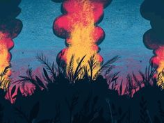 Forest Fire designed by Tom Clohosy Cole. Forrest Illustration, Fire Animation, Wildland Fire, Silver Spring, Uni, College, Space, Random, Creative