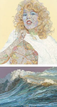 """Map Works"" series collage art created using old maps and other materials by Dallas-based artist Matthew Cusick."