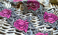 1 yard 7cm wide burgundy and grey lace trim I luxury lace trim I Fancy lace I Bridal lace I Lingerie lace trim I Lace trim I Net lace trim by SixthCraft on Etsy