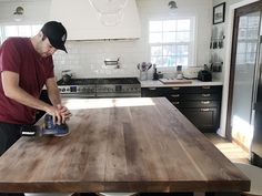 How We Refinished our Butcher block Countertop - Chris Loves Julia Kitchen Sink Design, Kitchen Redo, New Kitchen, Kitchen Remodel, Copper Kitchen, Butcher Block Countertops Kitchen, Walnut Countertop, Formica Countertops, Kitchen Cabinets