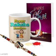 Rakhi Fancy Mug & Rakhi Combo Material: Mug: Ceramic                Rakhi: Beads/ Thread Size: Mug- 325 ml Description: It Has 1 Piece Of Mug 1 Piece Of Beautiful Greeting Card & 1 Piece Of Rakhi Country of Origin: India Sizes Available: Un Stitched, Free Size, Semi Stitched   Catalog Rating: ★4.1 (444)  Catalog Name: Rakhi Fest Special Greeting Cards & Mugs Combo Vol 2 CatalogID_44463 C77-SC1266 Code: 452-411275-525