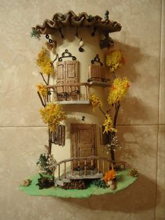 teja Clay Wall Art, Roof Tiles, Fairy Doors, Recycling, Miniature Houses, Garden Crafts, Fairy Houses, Clay Projects, Framed Wall Art