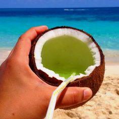 Fresh coconut milk - #SunFunDay in Nassau Bahamas