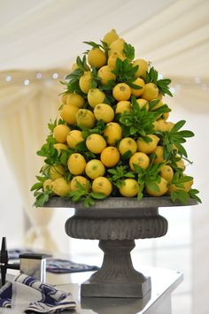 Lemon Centerpiece. Great on a buffet, bad for a dining table, as it will obstruct the view of the person seated opposite.