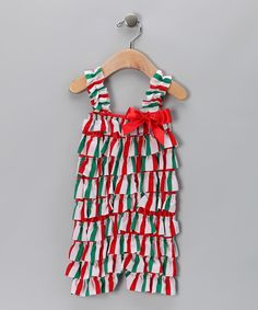 Red & Green Stripe Ruffle Romper - Infant & Toddler by Royal Gem #zulily #zulilyfinds