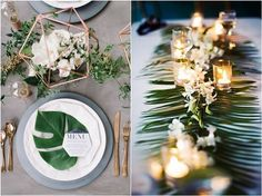 2017 Trend: Tropical Leaf Greenery Wedding Decor Ideas - Deer Pearl Flowers