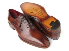- Brown hand-painted leather upper - Antique burnished natural leather sole - Finest Italian calfskin - Plain-toe oxford style dress shoes for men - Leather wrapped lacing - Bordeaux lining and inner