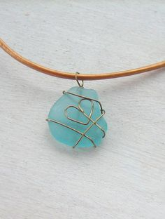 Bronze Wire Wrapped Heart Shaped Aqua Blue Beach Glass Sea Glass Necklace Pendant