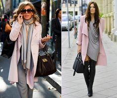 """Grey with pastel pink is one of the many ways how to bring up gentle feminine souls of ours..Do you wear grey or you consider grey to be one of the """"boring"""" colors? #outfit #fashion #grey #feminine"""