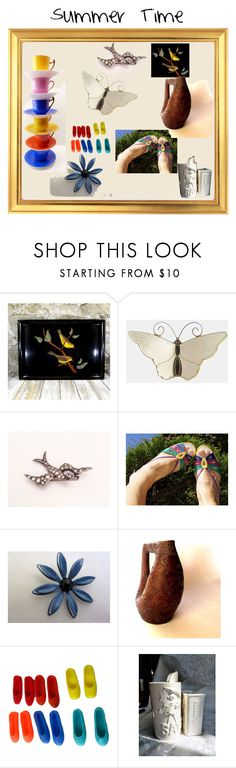 """""""Summer Time"""" by starshinevintage ❤ liked on Polyvore featuring Farfalla, Farmhouse Pottery, vintage, summertime and decor"""