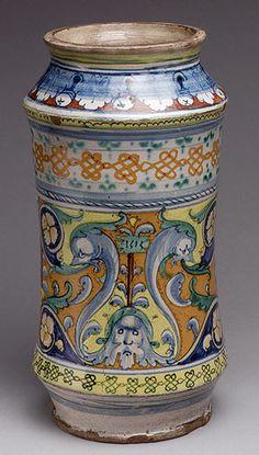 Pharmacy Jar, dated 1515 Italian (Siena) Tin-glazed earthenware (majolica)