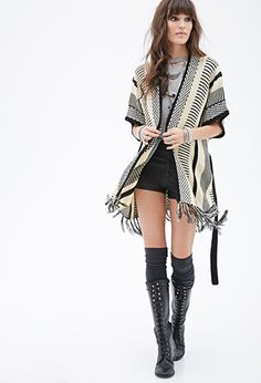 Multicolor Mixed Stripe Print Pattern Cardigan Sweater Poncho | FOREVER21 - 2000134756 $30