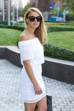 EMBROIDERED OFF THE SHOULDER DRESS - Styled Snapshots