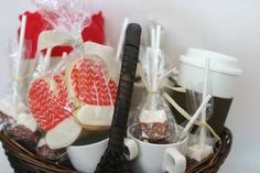 Cozy Bliss basket- Fleece blanket, hot cocoa, chocolate dipped mashmallows, cookies and mugs.