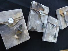 Eco-printed journal holders / rusted, tea stained, leaf-printed and waxed -by Jan Ward