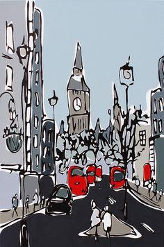 "Amazing paintings from Midlands, UK based painter Rachel Tighe at http://www.racheltighe.com/ ""Grey Whitehall Street - London"", 2015, 3ft x 2ft, ©Rachel Tighe"